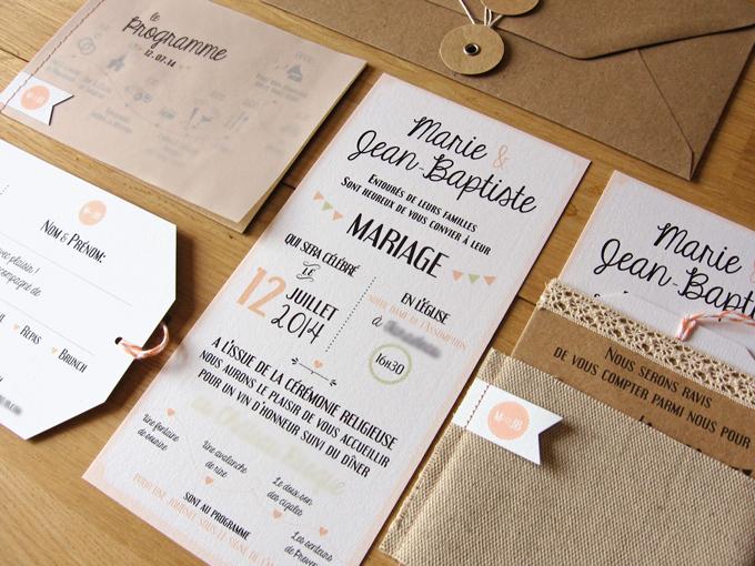faire-part carton rsvp kraft dentelle mariage vintage