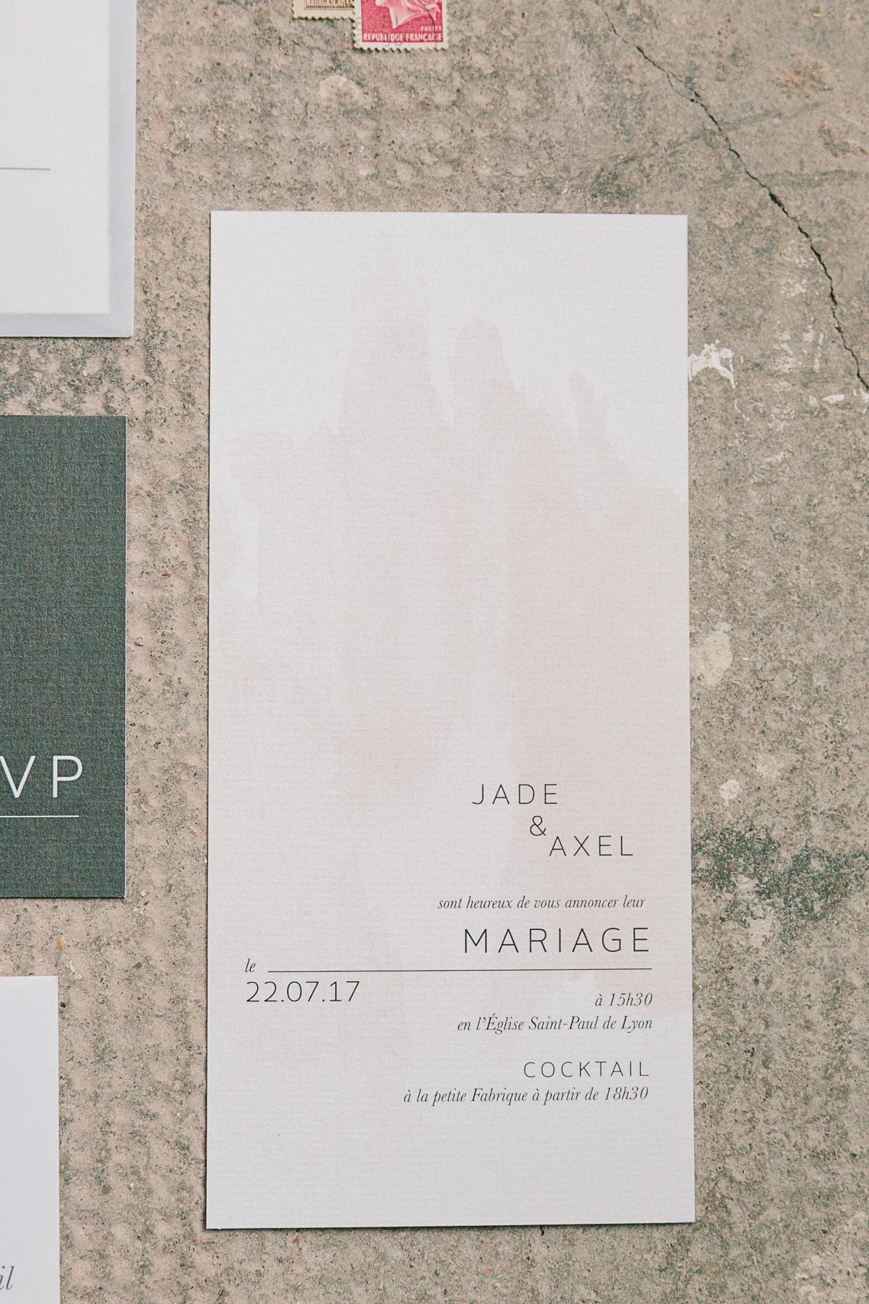 faire-part aquarelle moderne mariage romantique minimaliste et industriel