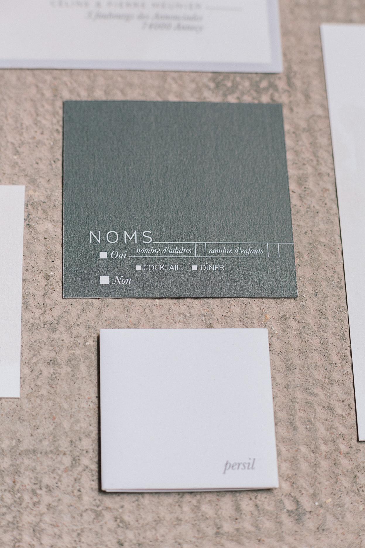 carte rsvp mariage romantique minimaliste et industriel