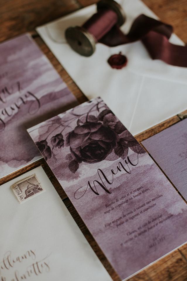 papeterie mariage faire-part blush plum fleur botanqiue aquarelle menu calligraphie moderne