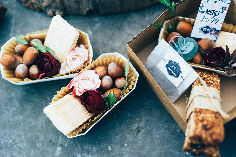 inspiration mariage cadeaux d'invité thé et gourmandises étiquettes jardin botanique