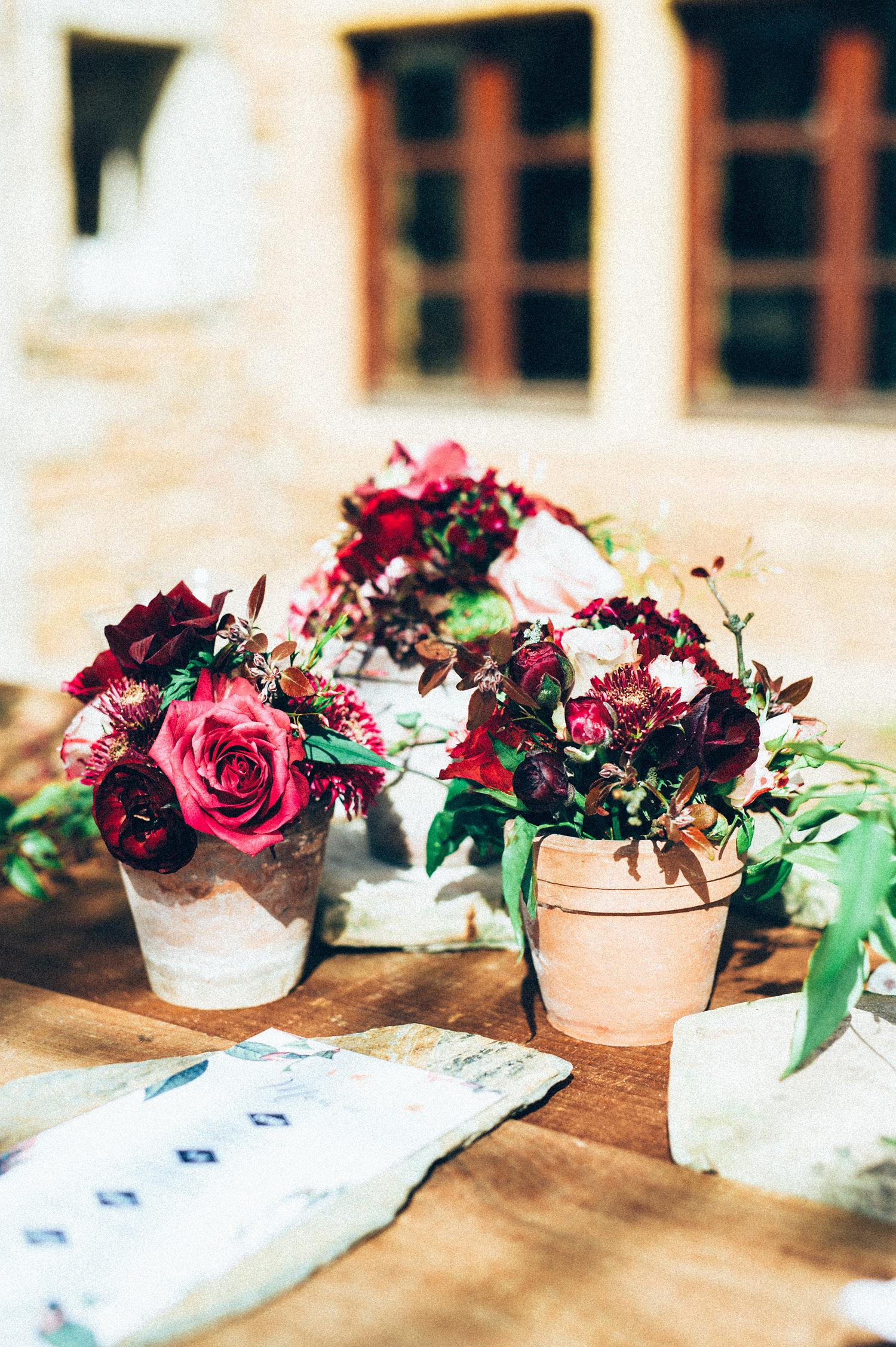inspiration mariage pourpre bouquets fleurs menu jardin botanique