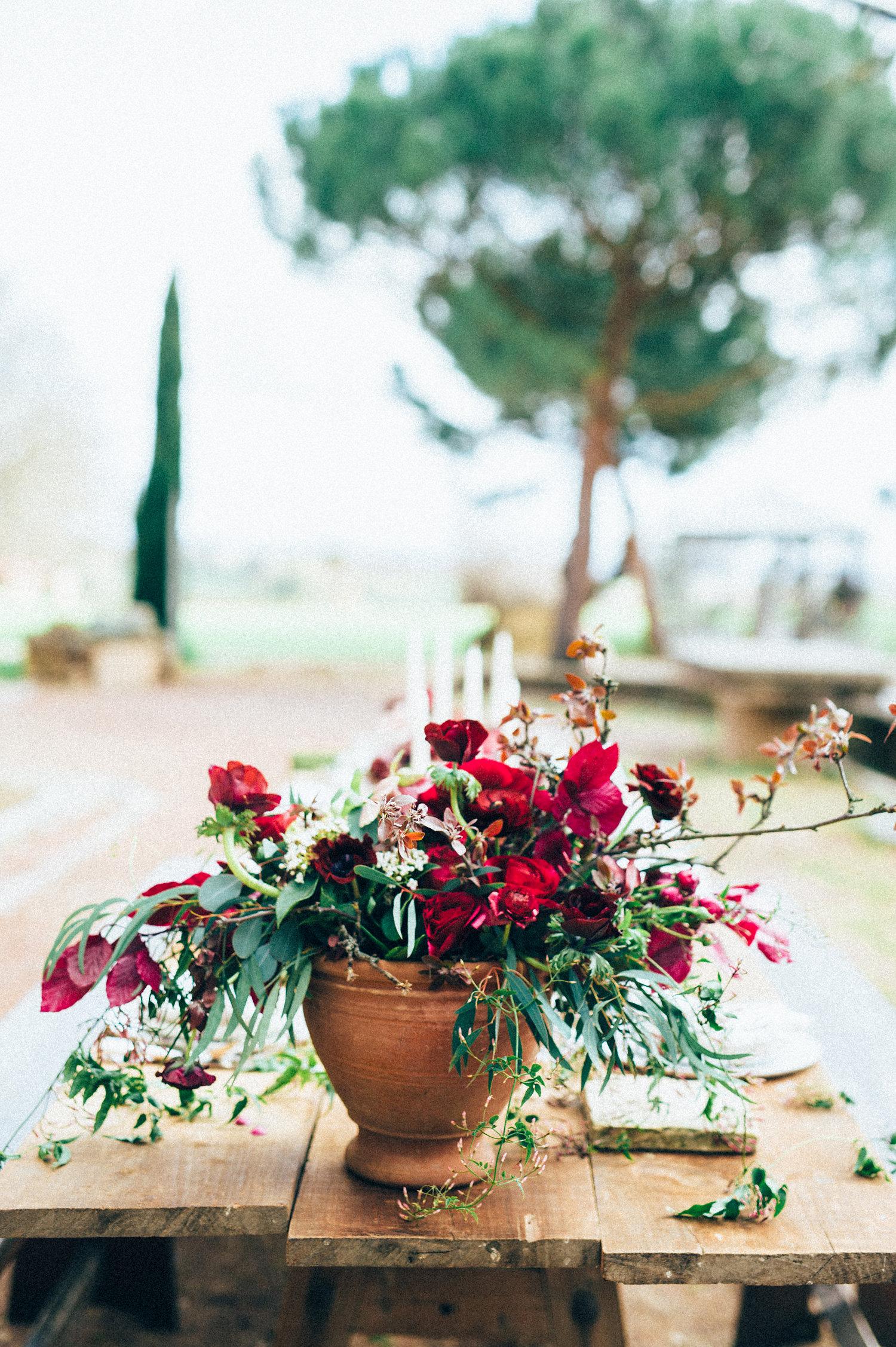inspiration mariage decoration bouquet centre de table pourpre