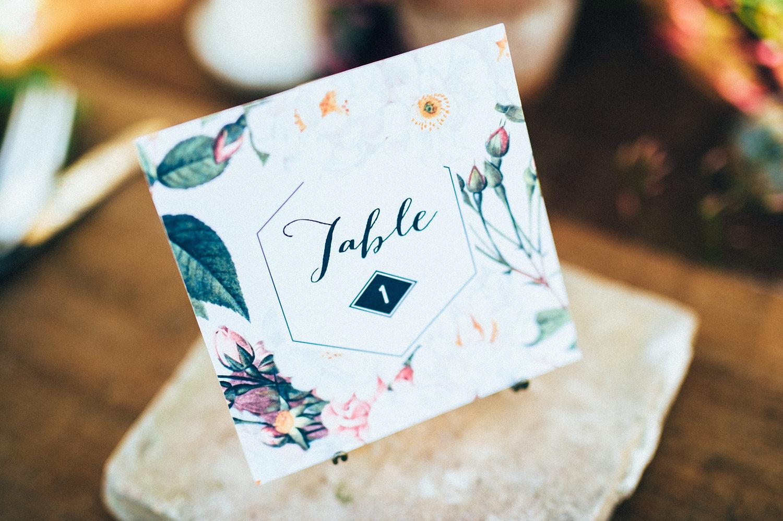 inspiration mariage papeterie numero table jardin botanique