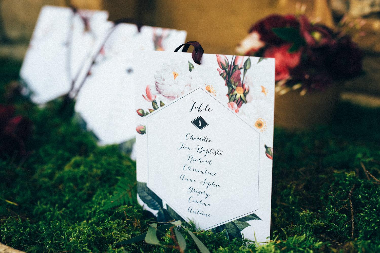 inspiration mariage pourpre papeterie plan de table fleuri