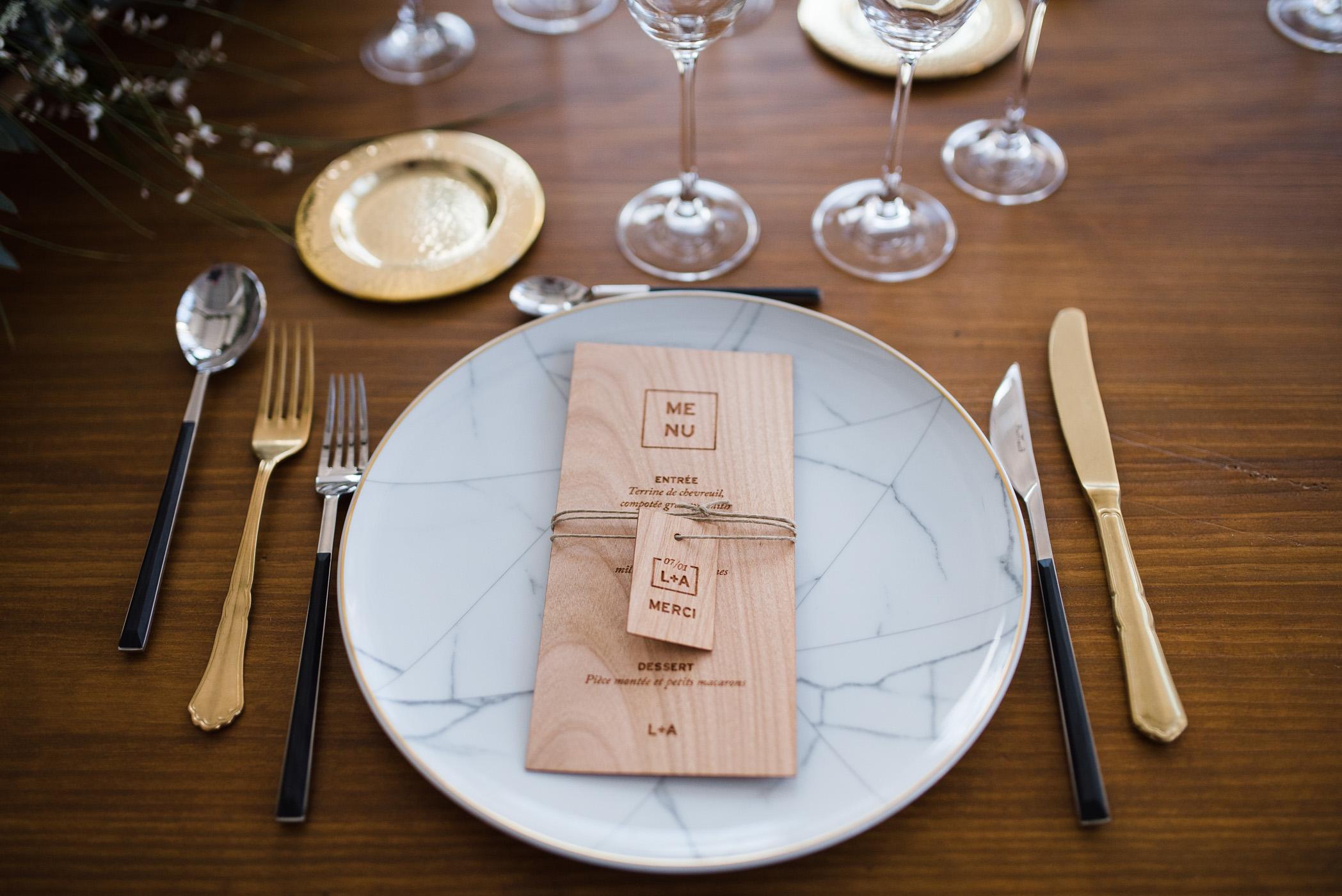 menu bois papier marbre mariage industriel