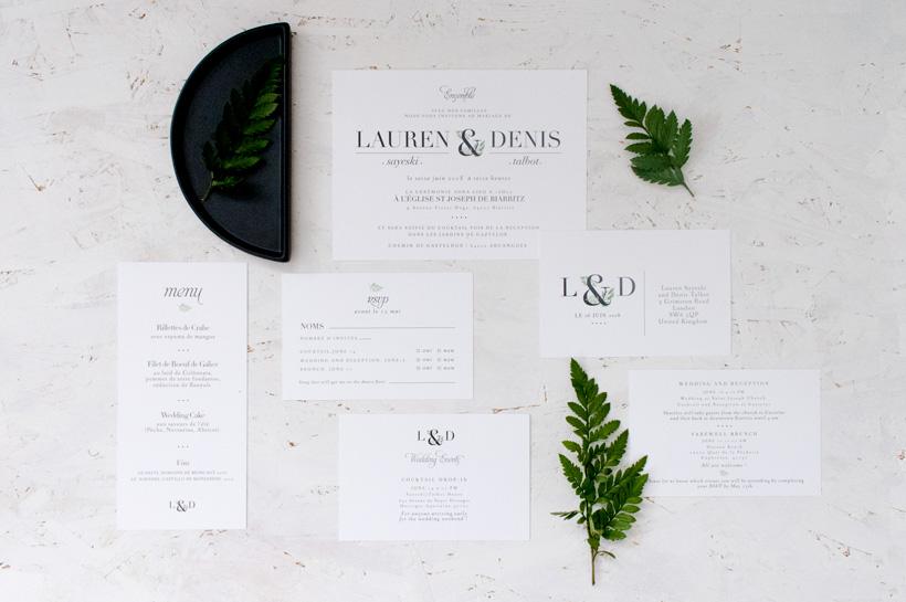 Suite de papeterie invitation mariage faire-part carton rsvp réponse et carton informations papeterie sur mesure pour Lauren et denis moderne graphique et végétal