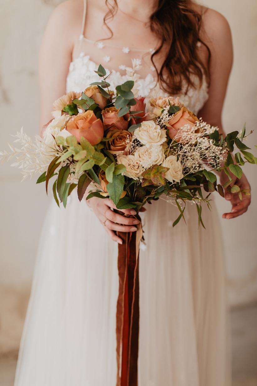 bouquet mariée terracota et rose