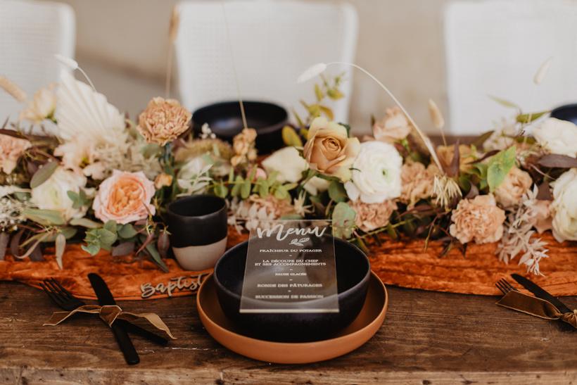 menu plexi mariage terracotta