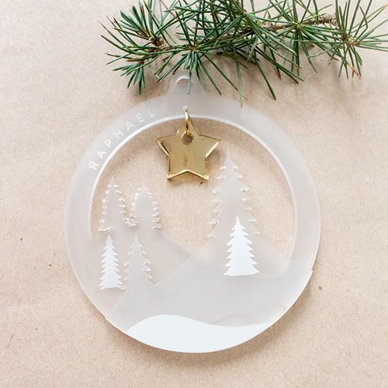 boule noel paysage neige personnaliser blanc