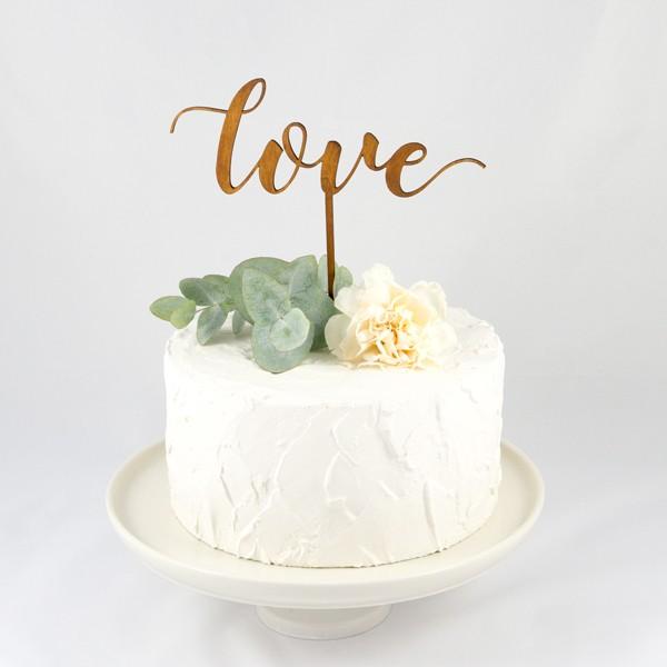 cake toper, love calligraphie, lettre découpées, laser, bois