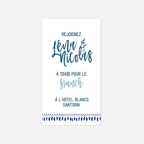 Brunch graphique, voyage, papeterie Bleu Cyclades verso