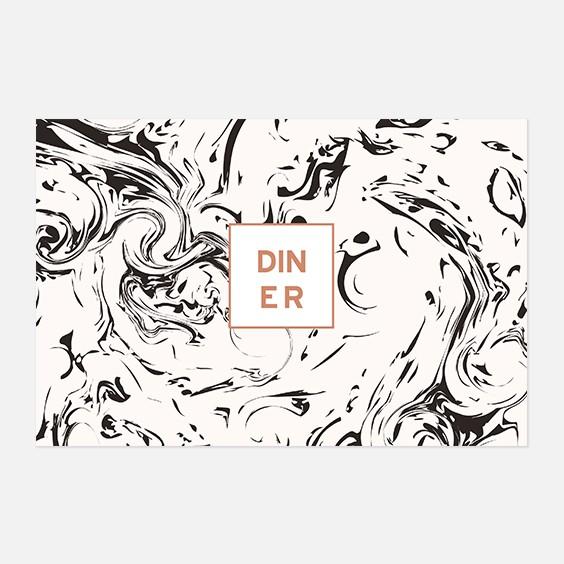 Carton dinner  géometrique, papeterie Papier marbre recto