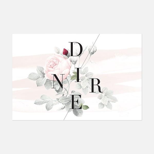 carton diner de mariage graphique, moderne, Fleur, Aquarelle recto
