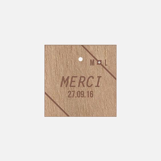 Etiquette  bois, papeterie Folk & wood en bois recto