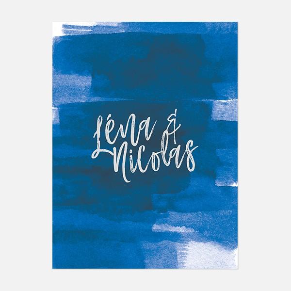 Faire-part de mariage graphique, voyage, papeterie Bleu Cyclades recto
