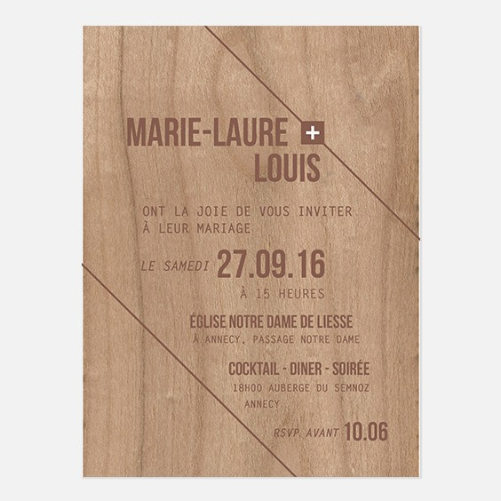 Faire-part de mariage bois, champêtre, papeterie Folk & wood recto