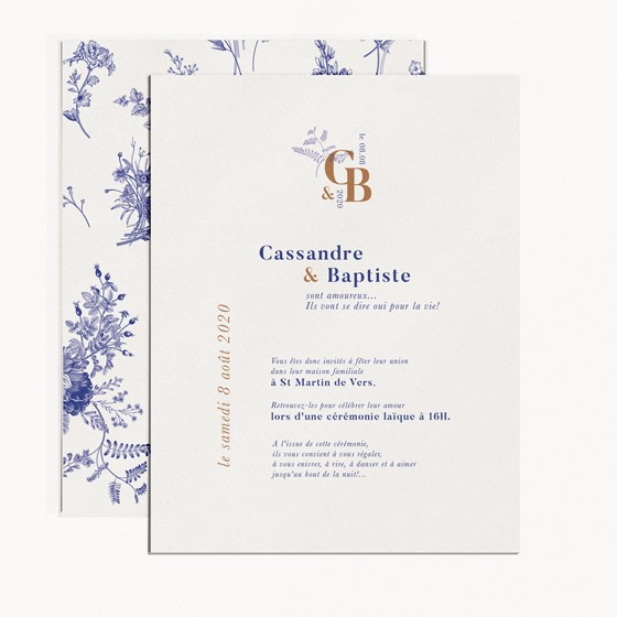 faire-part de mariage moderne occitanie fleur vintage toile de jouy recto verso