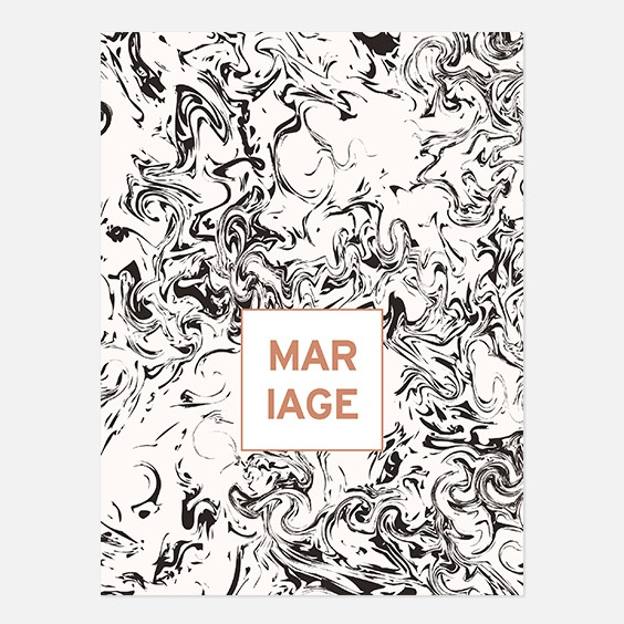 Faire part de mariage géometrique, cuivre, papeterie Papier marbre recto