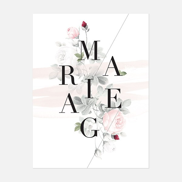 Faire-part de mariage graphique, moderne, Fleur, Aquarelle recto
