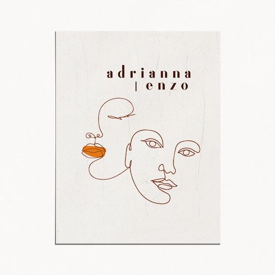faire-part de mariage, matisse, illustration visage mariés moderne, minimaliste recto