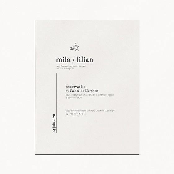 faire-part mariage minimaliste mariage minimalist moderne épuré