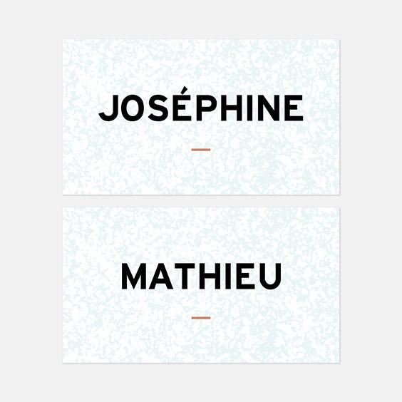 Marque place  géometrique, papeterie Papier marbre recto