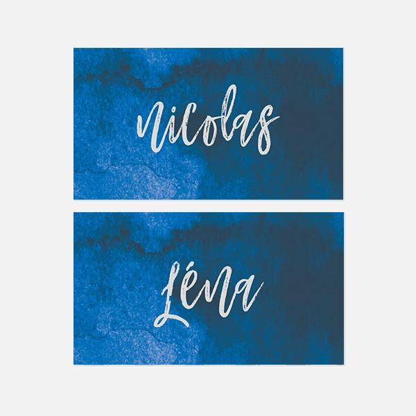 marque place de mariage graphique, voyage, papeterie Bleu Cyclades recto