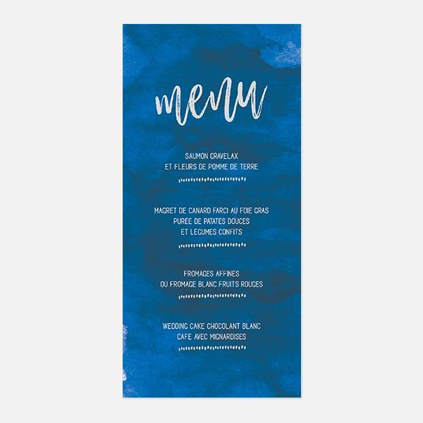 menu de mariage graphique, voyage, papeterie Bleu Cyclades recto