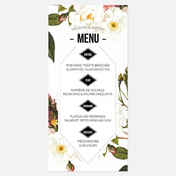Menu de mariage fleur, papeterie Jardin botanique recto