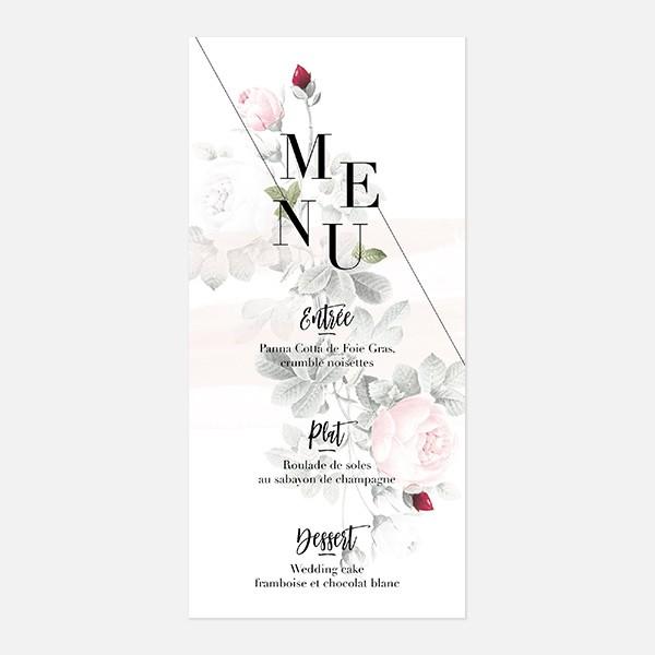 menu de mariage graphique, moderne, Fleur, Aquarelle recto