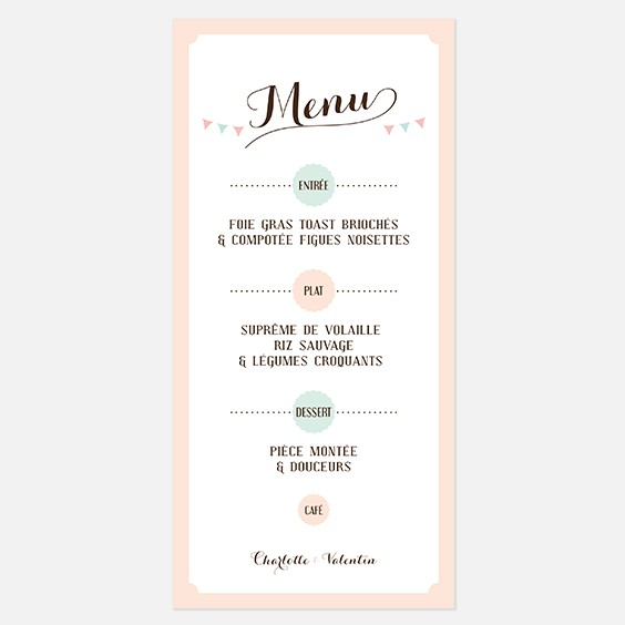 menu de mariage kraft vintage r tro kraft. Black Bedroom Furniture Sets. Home Design Ideas