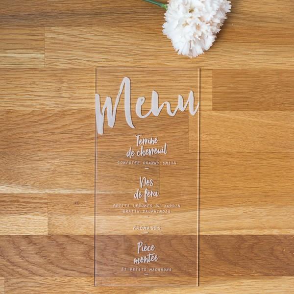 Menu de mariage transparent, plexiglas, papeterie Plexi