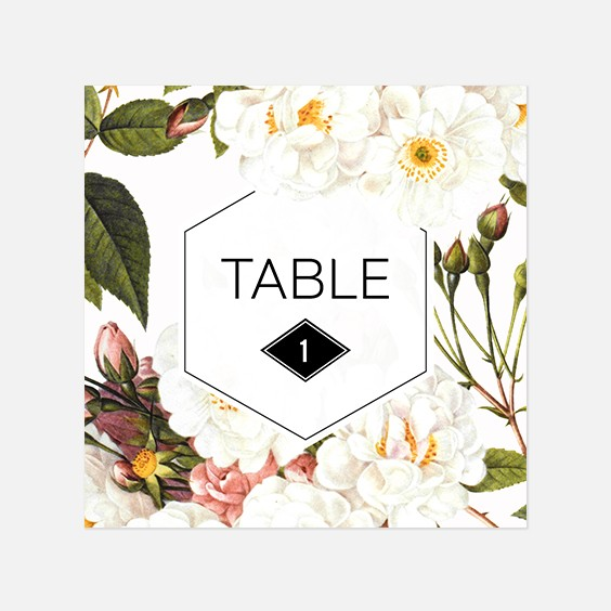 Numero de table  fleur, papeterie Jardin botanique recto