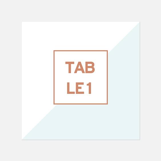 Numero de table  géometrique, papeterie Papier marbre recto