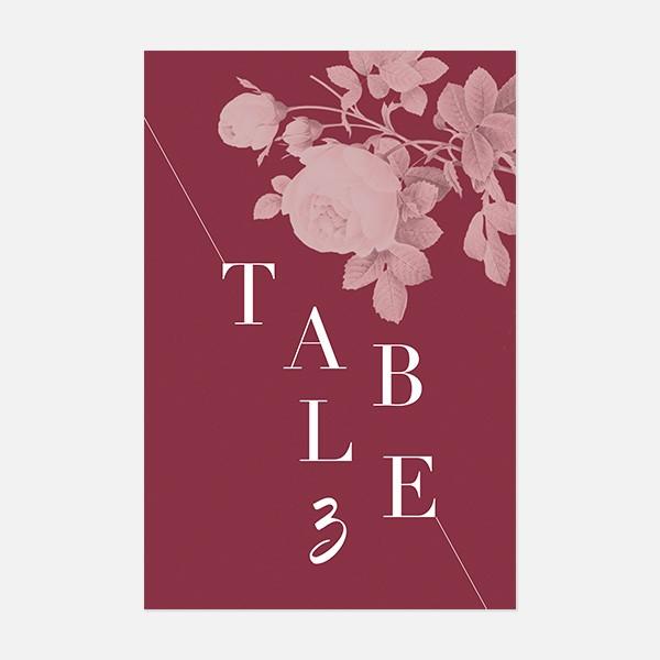 numéro de table de mariage graphique, moderne, Fleur, Aquarelle recto