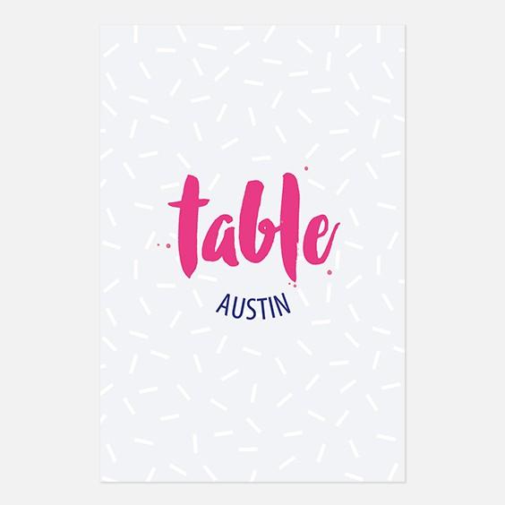 Numero de table  graphique, papeterie Un mariage à Memphis recto