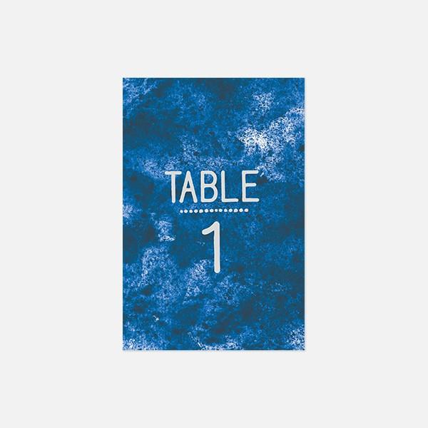 numéro de table de mariage graphique, voyage, papeterie Bleu Cyclades recto