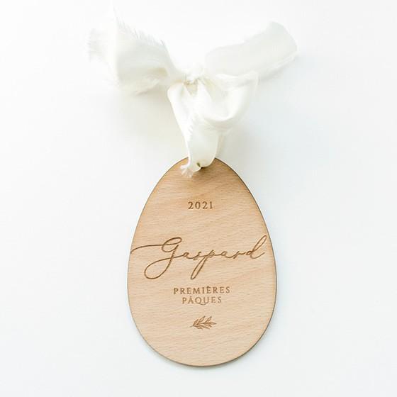 petit oeuf de pâques décoration personnalisé prénom gravure et ruban bébé