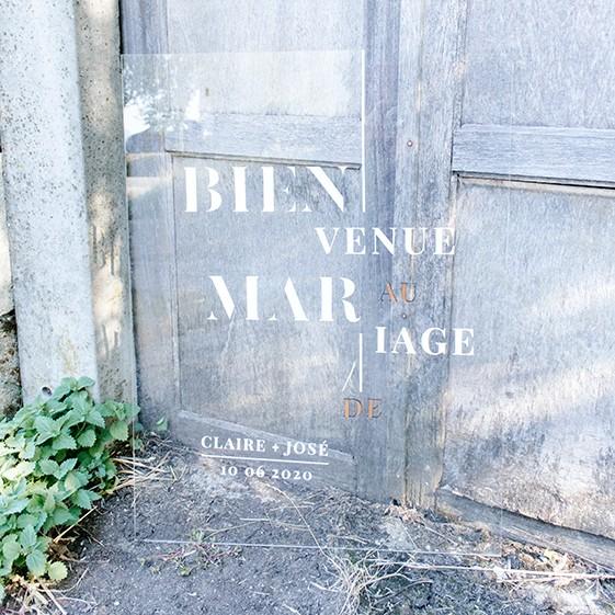 panneau accueil bienvenue mariage moderne plexi et bois