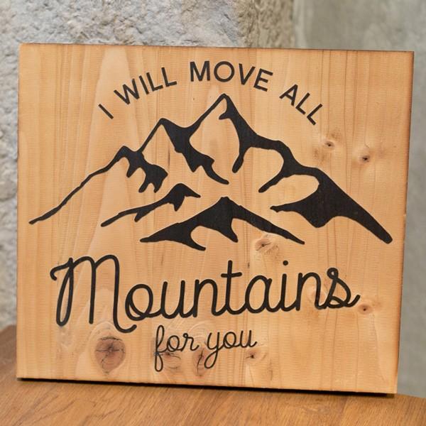Panneau bois gravé laser, decoration, montagne, love