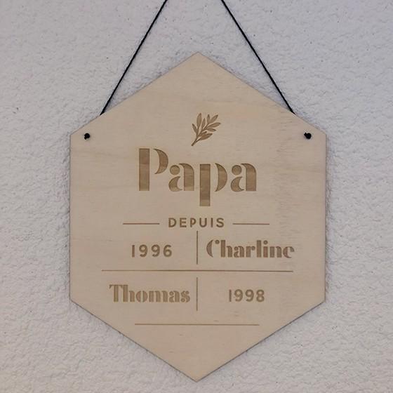 """Panneau losange en bois avec feuille fête des pères """"Papa depuis.."""""""