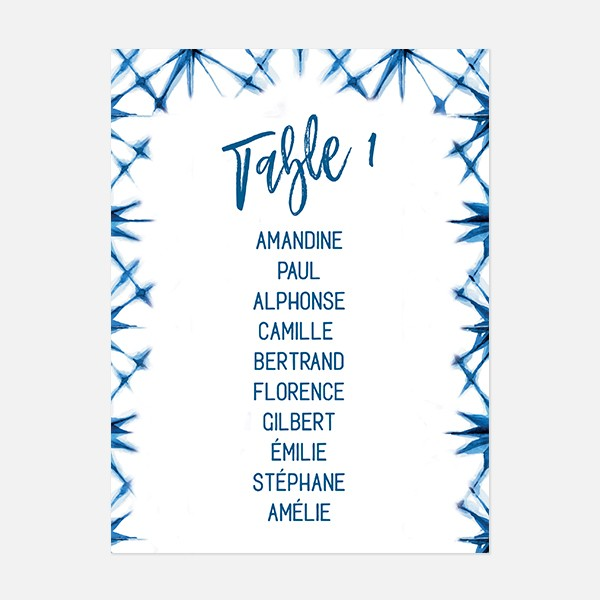 plan de table de mariage graphique, voyage, papeterie Bleu Cyclades