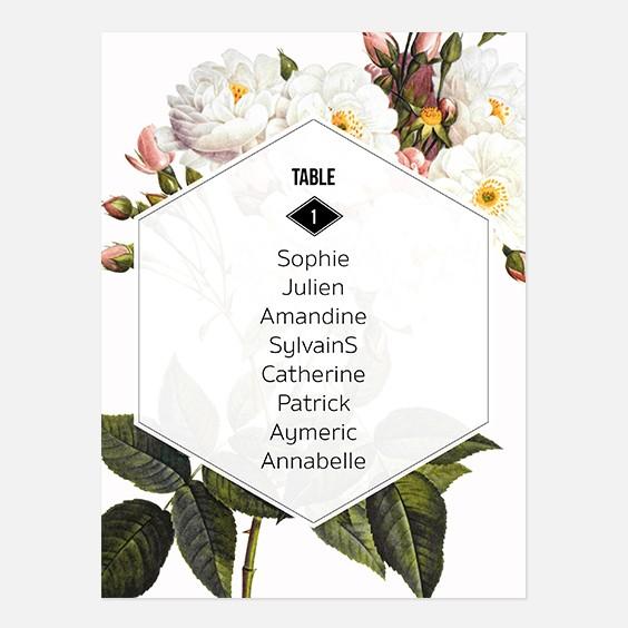 Plan de table de mariage fleur, papeterie Jardin botanique recto