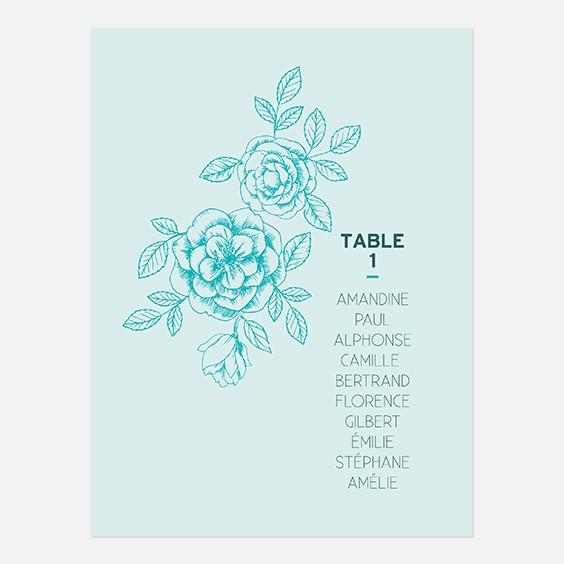 Plan de table de mariage fleur, papeterie Dame-Jeanne recto