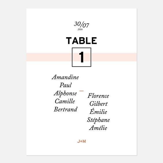 Plan de table de mariage géometrique, papeterie Papier marbre recto