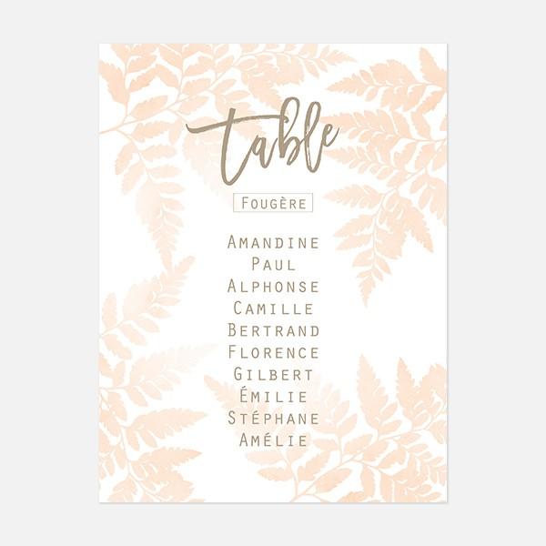 Plan de table de mariage végétal, papeterie Organic blanc recto