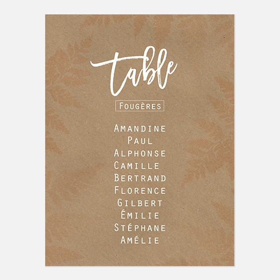 Plan de table de mariage végétal, papeterie Organic recto