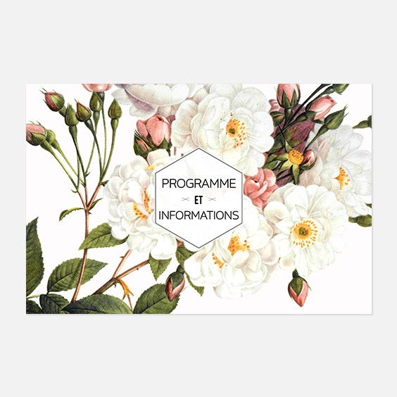 Programme de mariage fleur, papeterie Jardin botanique recto
