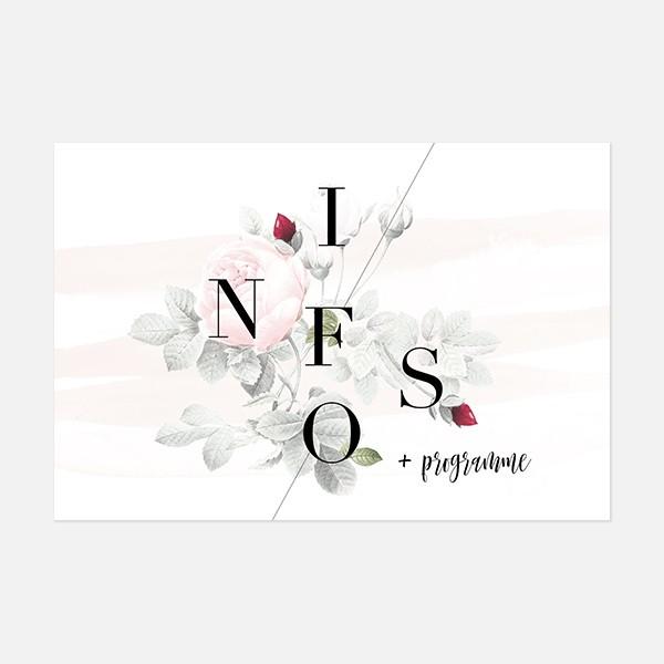 carton programme de mariage graphique, moderne, Fleur, Aquarelle recto